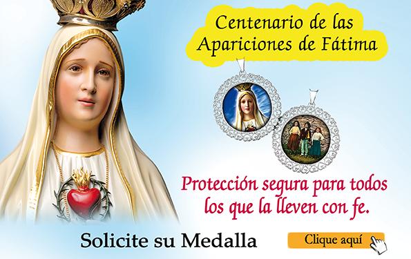Medalla de nuestra señora de Fatima con los pastoricitos